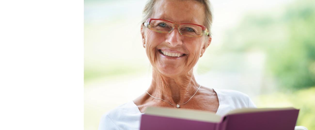 Female member reading a book