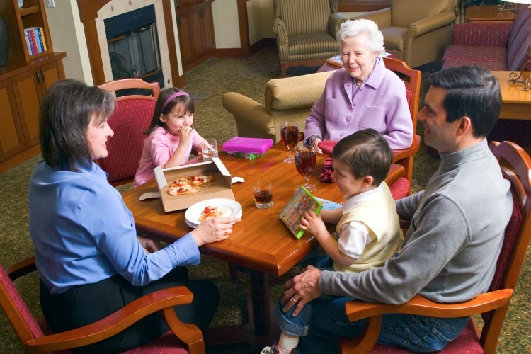 Grandmother with daughter and grandchildren