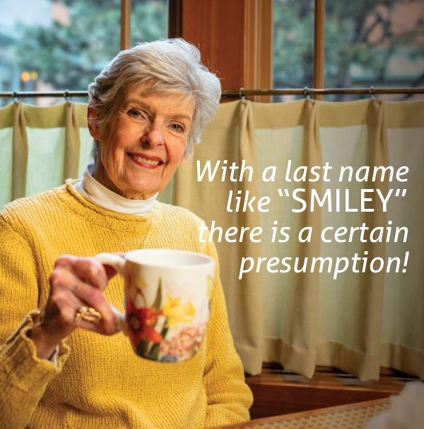 Bonnie Smith smiling drinking coffee