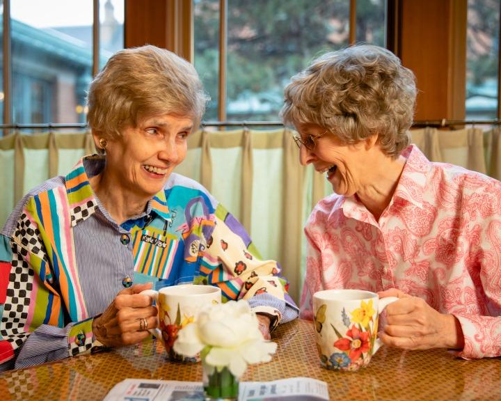 Sisters having coffee