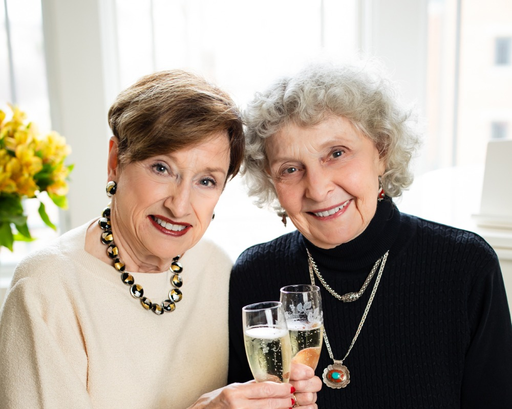 Sally and Nancy toasting champaign