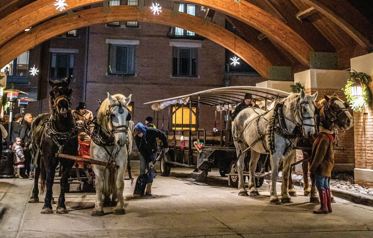 Guest getting into horse drawn carriage