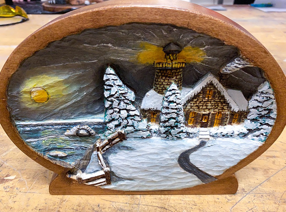 Winter logo cabin painted relief carving